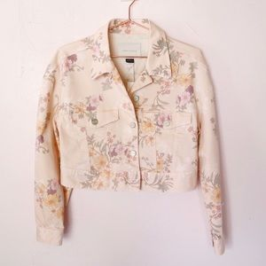 New Sanctuary Cropped Floral-Print Jacket